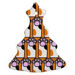 Cute Cat Hand Orange Christmas Tree Ornament (2 Sides)