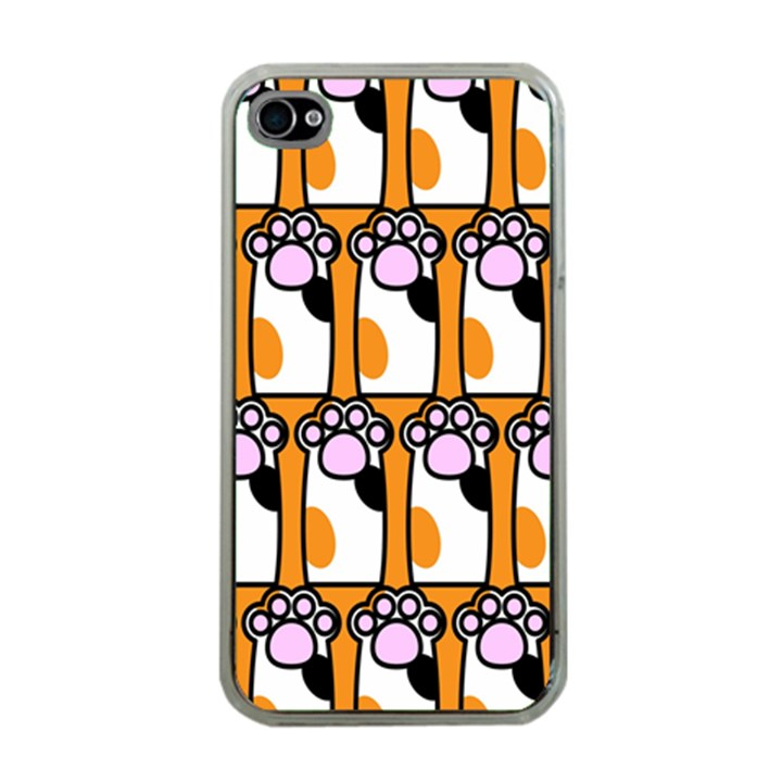Cute Cat Hand Orange Apple iPhone 4 Case (Clear)