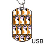 Cute Cat Hand Orange Dog Tag USB Flash (One Side) Front