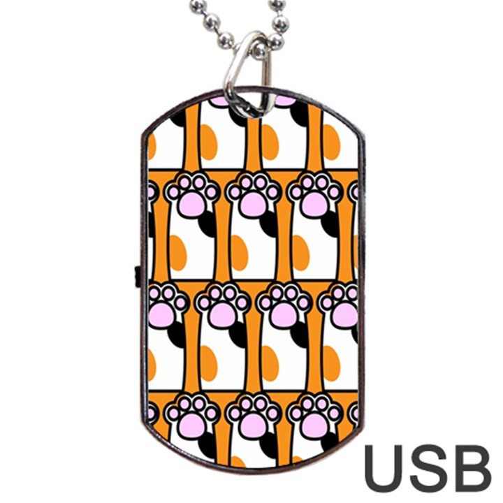 Cute Cat Hand Orange Dog Tag USB Flash (One Side)