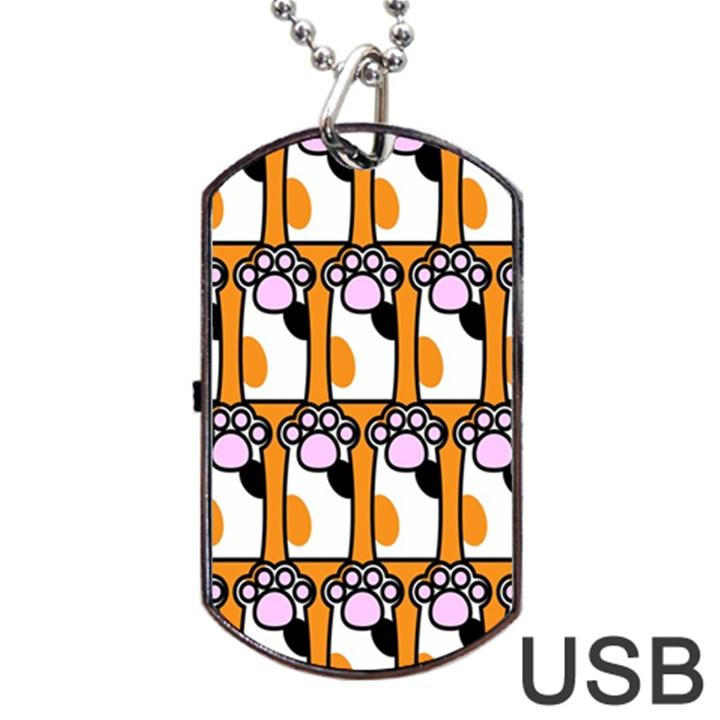 Cute Cat Hand Orange Dog Tag USB Flash (Two Sides)