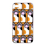Cute Cat Hand Orange Apple iPhone 4/4s Seamless Case (Black) Front