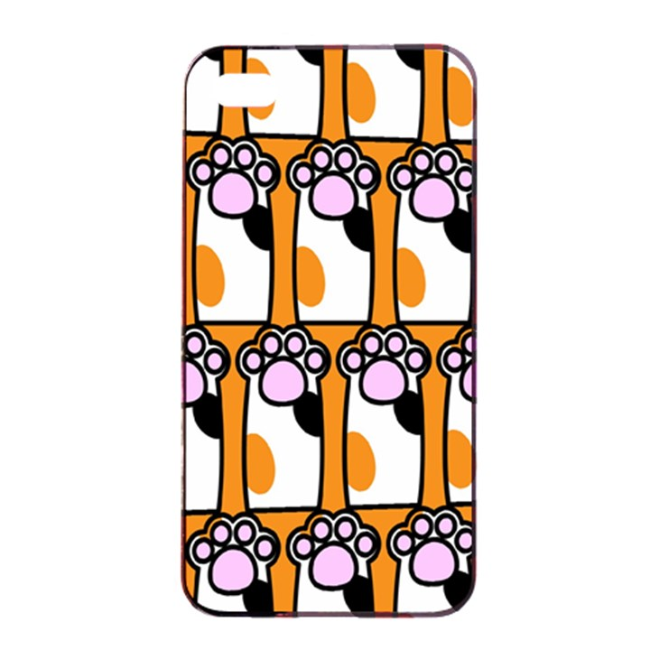 Cute Cat Hand Orange Apple iPhone 4/4s Seamless Case (Black)