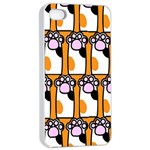 Cute Cat Hand Orange Apple iPhone 4/4s Seamless Case (White) Front