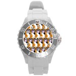 Cute Cat Hand Orange Round Plastic Sport Watch (L) Front