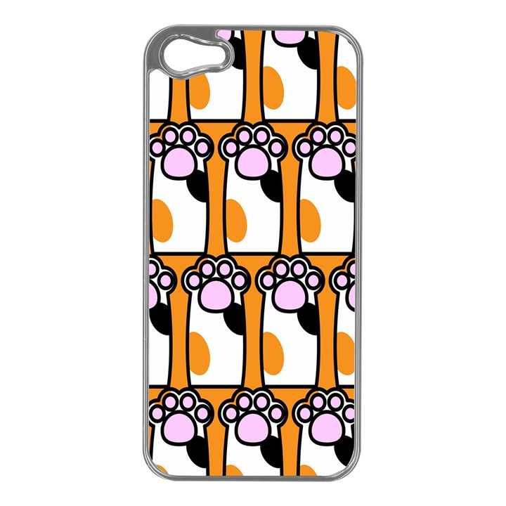 Cute Cat Hand Orange Apple iPhone 5 Case (Silver)