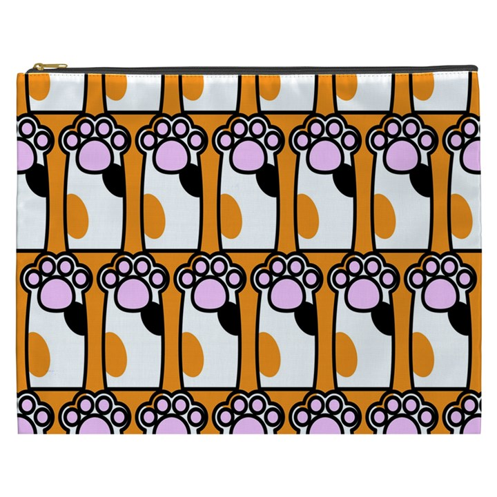 Cute Cat Hand Orange Cosmetic Bag (XXXL)