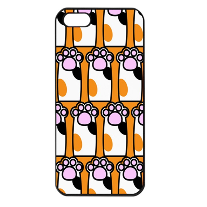 Cute Cat Hand Orange Apple iPhone 5 Seamless Case (Black)