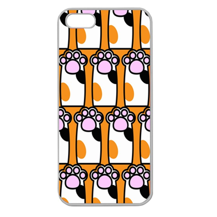 Cute Cat Hand Orange Apple Seamless iPhone 5 Case (Clear)