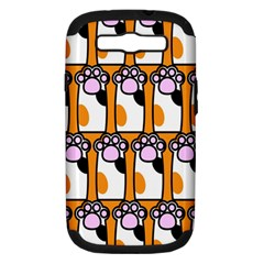 Cute Cat Hand Orange Samsung Galaxy S III Hardshell Case (PC+Silicone)