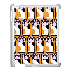 Cute Cat Hand Orange Apple iPad 3/4 Case (White)