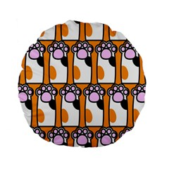 Cute Cat Hand Orange Standard 15  Premium Round Cushions