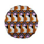 Cute Cat Hand Orange Standard 15  Premium Round Cushions Back