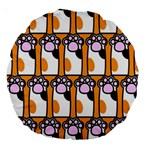 Cute Cat Hand Orange Large 18  Premium Round Cushions Back