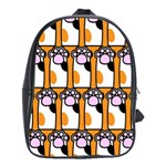 Cute Cat Hand Orange School Bags (XL)  Front