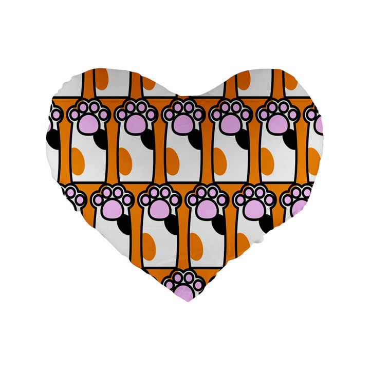 Cute Cat Hand Orange Standard 16  Premium Heart Shape Cushions