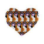 Cute Cat Hand Orange Standard 16  Premium Heart Shape Cushions Back