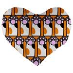 Cute Cat Hand Orange Large 19  Premium Heart Shape Cushions Front
