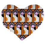 Cute Cat Hand Orange Large 19  Premium Heart Shape Cushions Back