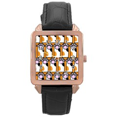 Cute Cat Hand Orange Rose Gold Leather Watch