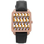 Cute Cat Hand Orange Rose Gold Leather Watch  Front