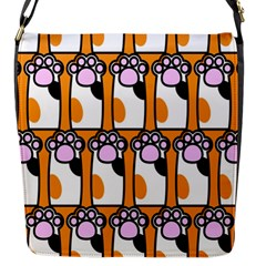 Cute Cat Hand Orange Flap Messenger Bag (s)