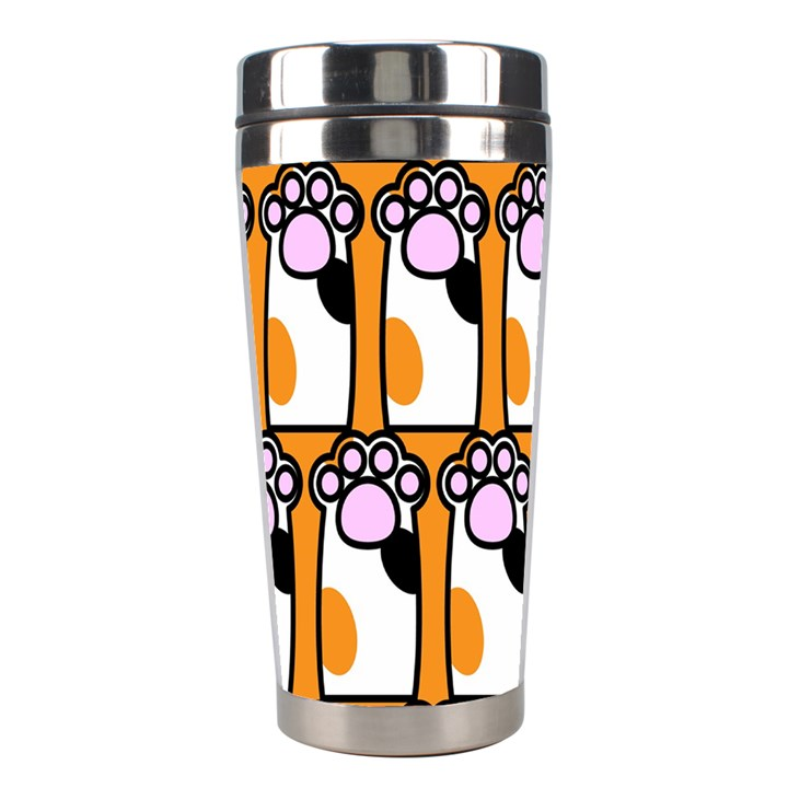 Cute Cat Hand Orange Stainless Steel Travel Tumblers