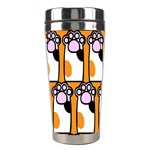 Cute Cat Hand Orange Stainless Steel Travel Tumblers Center