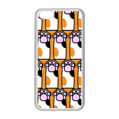 Cute Cat Hand Orange Apple iPhone 5C Seamless Case (White)