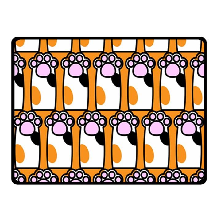 Cute Cat Hand Orange Double Sided Fleece Blanket (Small)