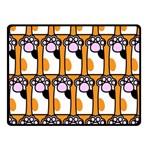 Cute Cat Hand Orange Double Sided Fleece Blanket (Small)  50 x40 Blanket Back