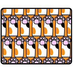 Cute Cat Hand Orange Double Sided Fleece Blanket (Medium)