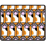 Cute Cat Hand Orange Double Sided Fleece Blanket (Medium)  60 x50 Blanket Front