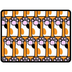 Cute Cat Hand Orange Double Sided Fleece Blanket (large)