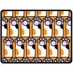 Cute Cat Hand Orange Double Sided Fleece Blanket (Large)  80 x60 Blanket Back