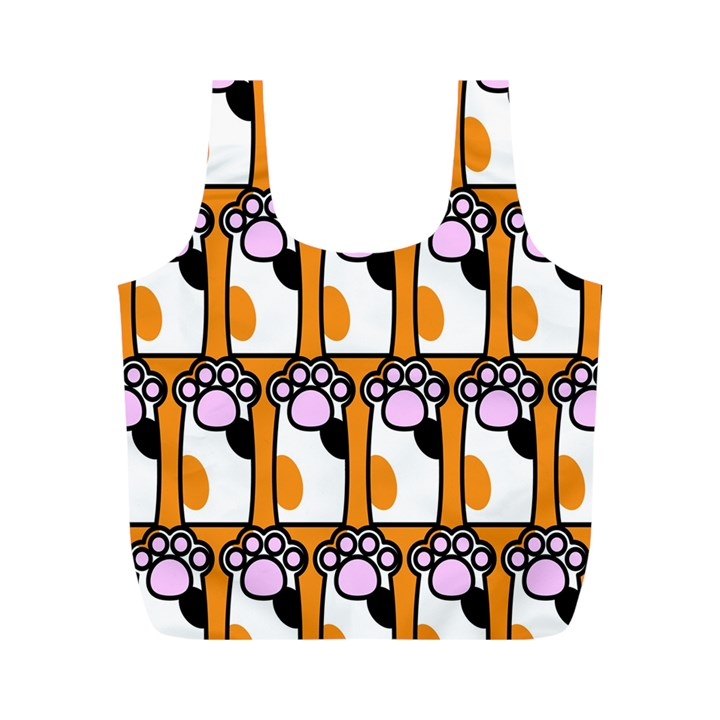 Cute Cat Hand Orange Full Print Recycle Bags (M)