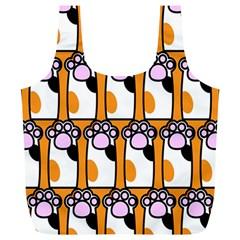 Cute Cat Hand Orange Full Print Recycle Bags (L)