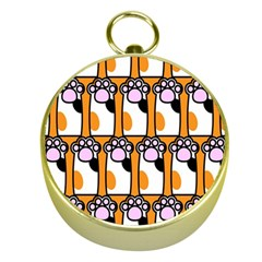Cute Cat Hand Orange Gold Compasses