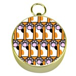 Cute Cat Hand Orange Gold Compasses Front
