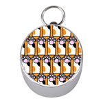 Cute Cat Hand Orange Mini Silver Compasses Front