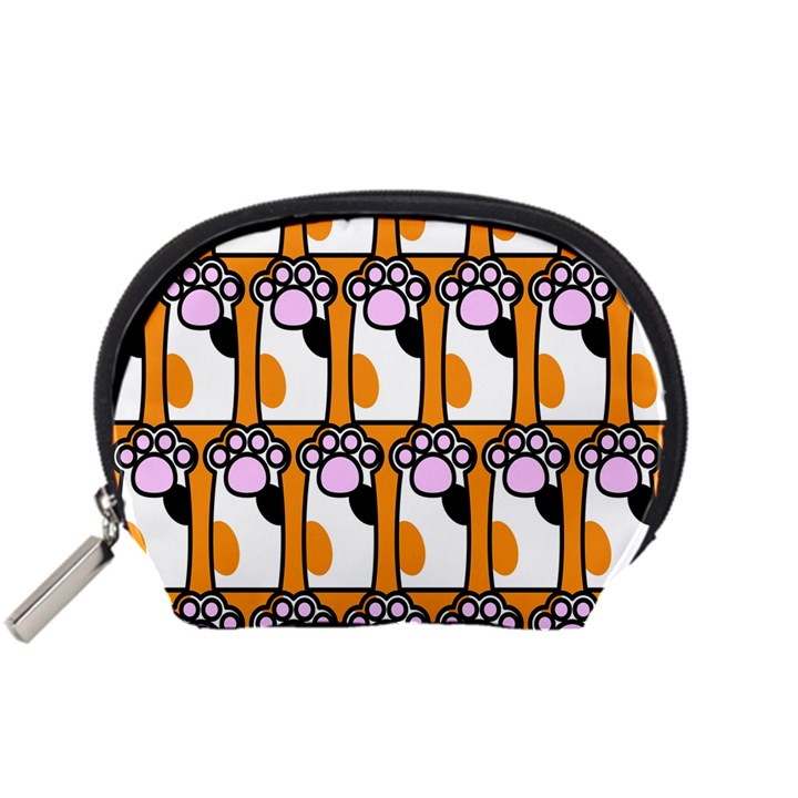 Cute Cat Hand Orange Accessory Pouches (Small)