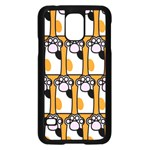 Cute Cat Hand Orange Samsung Galaxy S5 Case (Black) Front