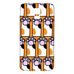 Cute Cat Hand Orange Samsung Galaxy S5 Back Case (White)