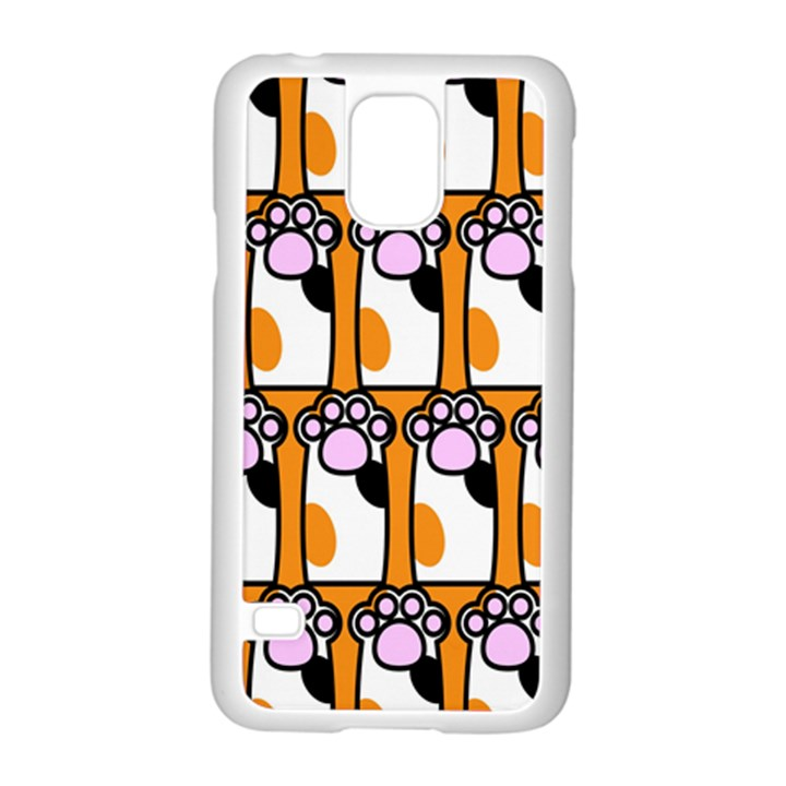 Cute Cat Hand Orange Samsung Galaxy S5 Case (White)