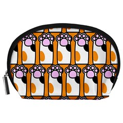 Cute Cat Hand Orange Accessory Pouches (Large)