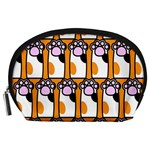 Cute Cat Hand Orange Accessory Pouches (Large)  Front