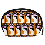 Cute Cat Hand Orange Accessory Pouches (Large)  Back