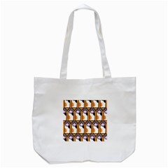 Cute Cat Hand Orange Tote Bag (white)