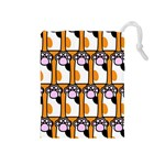 Cute Cat Hand Orange Drawstring Pouches (Medium)  Front