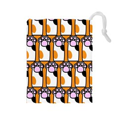 Cute Cat Hand Orange Drawstring Pouches (Large)